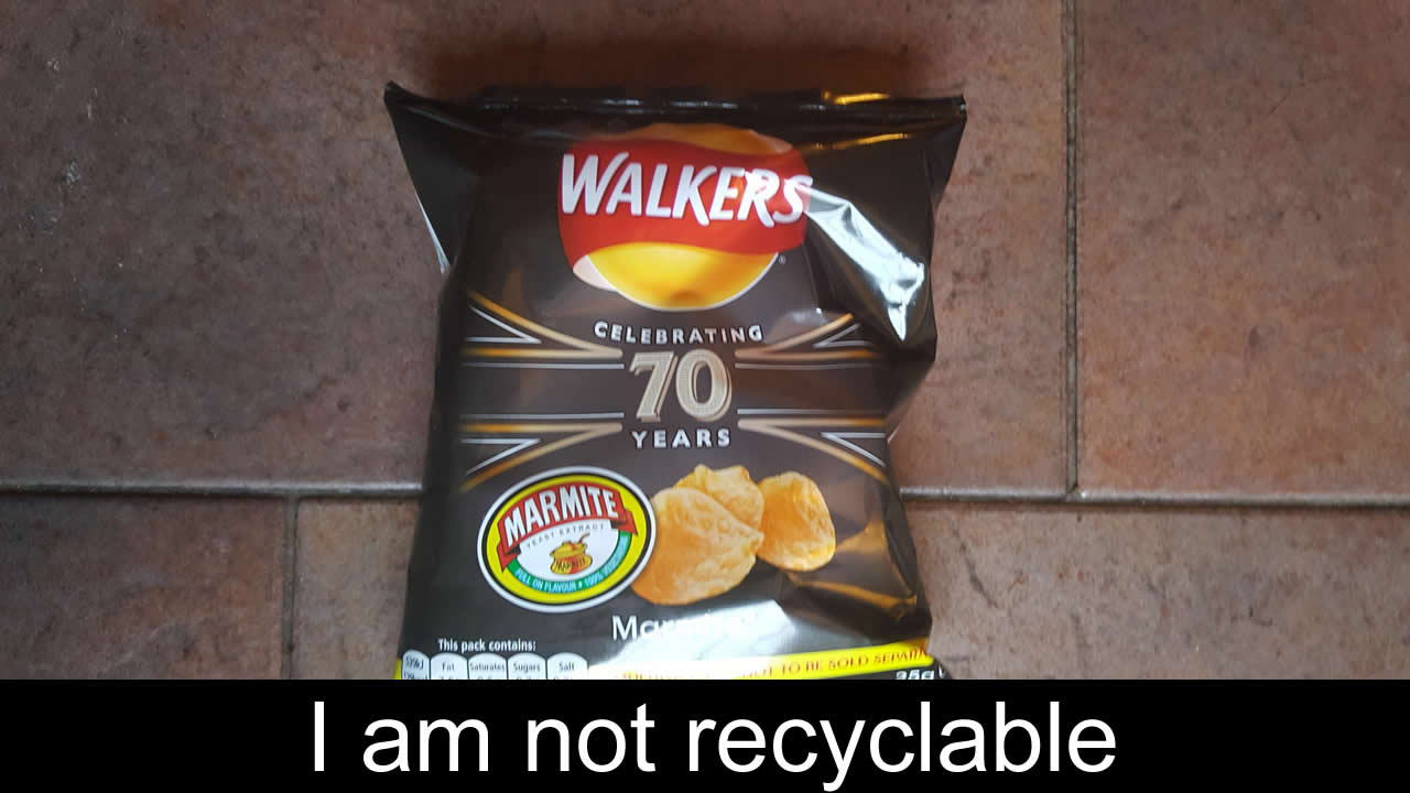Non-recyclabl Walkers Crisp Packets
