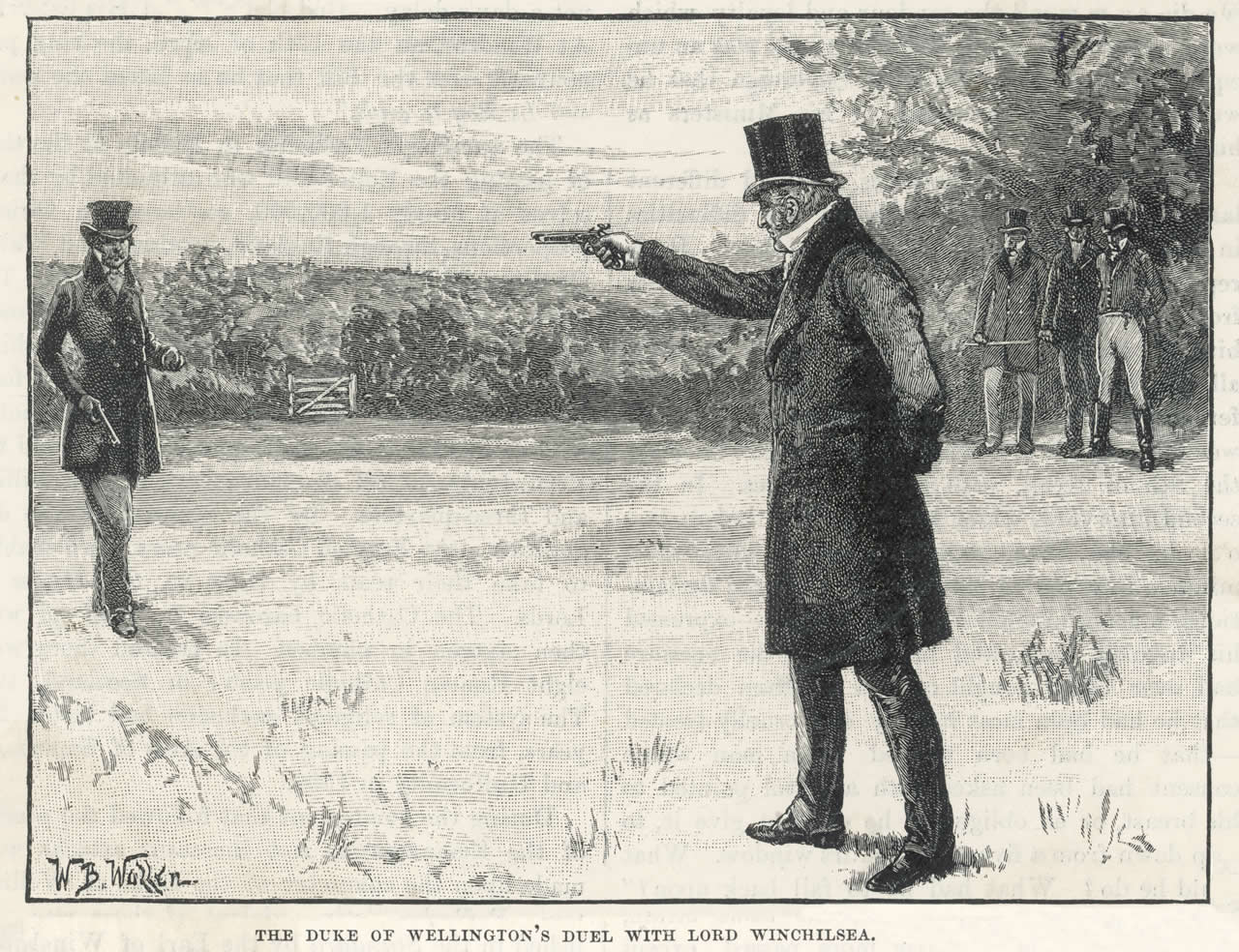 The Duke of Wellington and Earl of Winchilsea dueling at Battersea Fields